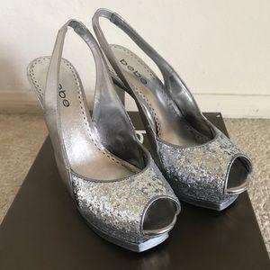 Bebe Silver Stilettos heels - 6
